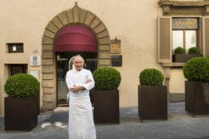Chef Gaetano Trovato in front of his Restaurant Arnolfo in Colle di Val d'Elsa