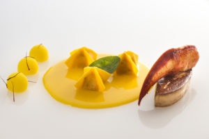Ravioli, Lobster, Fresh Goose Liver,Potatoes, Saffron by chef Gaetano Trovato at Restaurant Arnolfo in Colle di Val d'Elsa