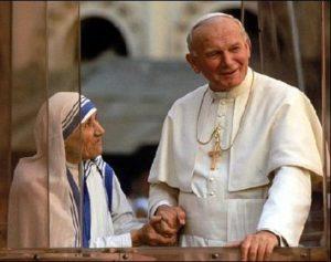 Papa Giovanni Paolo II e Madre Teresa di Calcutta