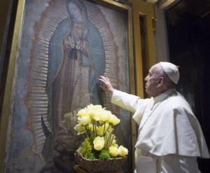 Papa Francesco e la Tilma della Virgin Morenita di Guadalupe (Messico)