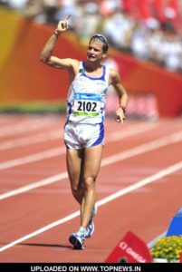 Aug 21, 2008; Beijing, CHINA; Alex Schwazer (ITA) reacts after winning the 50km race walk  in 3:37:09 at National Stadium during the 2008 Beijing Olympic Games.