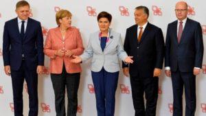 Angela Merkel con i dirigenti del Cdu