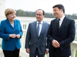 Merkel, Hollande con il premier Matteo Renzi