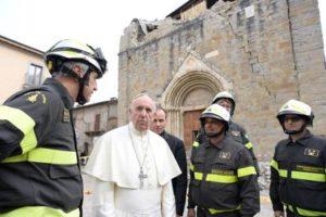 La recente visita di Papa Francesco nelle zone sismiche, la chiesa di S. Benedetto a Norcia