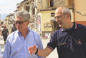 Il commissario Errani e il capo della Protexzione Civile Curcio
